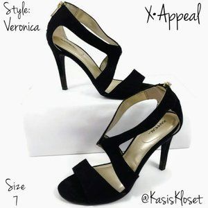 """Xappeal Heels """"Veronica"""" Womens 7 Black Cut Out"""